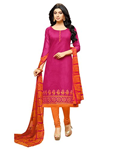 Pisara Women's Salwar Suit Unstitched Dress Material,Pink & Orange