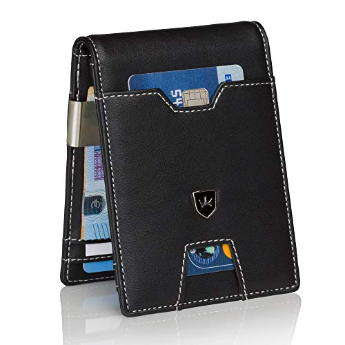 um Geldbörse Herren mit Geldklammer Portemonnaie Männer schlank Geldbeutel RFID Brieftasche Slim-Wallet Portmonee Kreditkartenetui ()