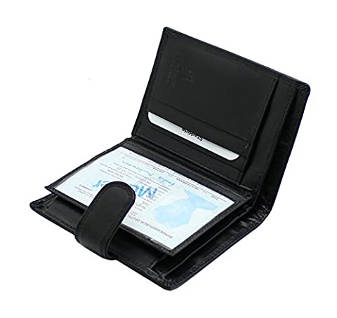Starhide Black Genuine Leather Trifold Wallet With Zip Pocket, ID Window & Coin Pouch for Men's Gift Boxed