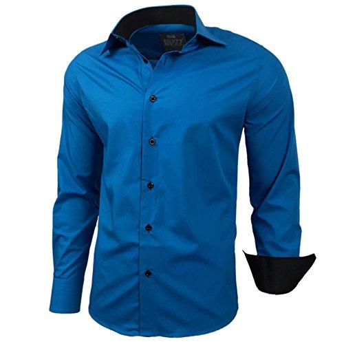 Baxboy Kontrast Business Anzug Freizeit Polo Slim Fit Figurbetont Hemd Langarmhemd R-44 Petrol