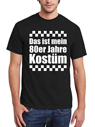 clothinx Herren T-Shirt Karneval Das ist mein 80er Jahre Kostüm Schwarz/Weiß Größe 3XL