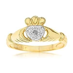 Bague Femme - Or jaune (9 carats) 1.649 Gr - Diamant - T 53
