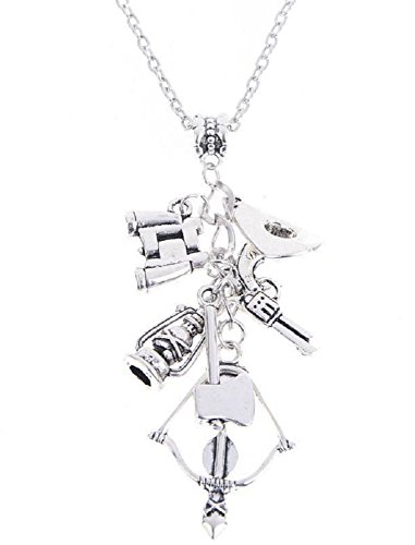 Inception Pro Infinite Halskette für Mann und Frau mit Anhänger The Walking Dead - Armbrust Gun Axe Spektiv Hut Öllampe - Silberfarbe -