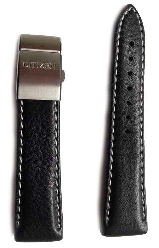 Citizen Original-Uhrband Leder für Sky Pilot Herrenuhr-Serie 23mm Anstoss mit Edelstahl-Faltschliesse für CITIZEN Mod. AS4050, AS4020, AS2030, AS2031, AS2020, BJ7000 -