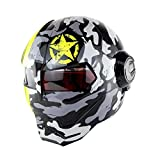 YSH YSHIronman Racing Motorradhelm Motocross Fullface Casco Moto Klapphelm Mit Offenem Gesichtsschutz,Camouflage-M(57-58cm)