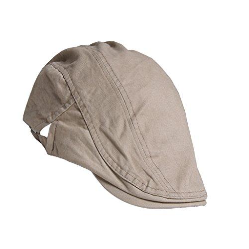Unisex Erwachsene Schiebermütze Flache Kappe Schirmmütze Flatcap Gatsby Wollmütze Golfermütze - Khaki, one size -