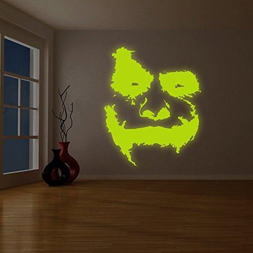 (198x 240cm) Glowing Vinyl Wand Aufkleber Scary Joker Face