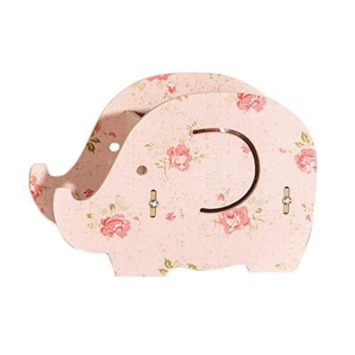 Topdo Portalápices y Soporte de teléfono móvil con soporte de pluma de elefante de diseño creativo,Patrón de flores de Portalápices De madera Desmontable Rosa(15 * 8 * 11.5cm)