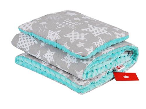 Preisvergleich Produktbild BABYLUX Babydecke Krabbeldecke MINKY Kuscheldecke Decke 75 x 100 cm mit KISSEN 30x35cm (1K. Minze + Sterne)