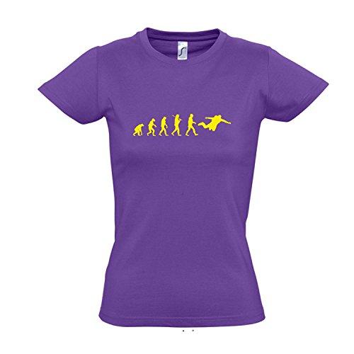 Damen T-Shirt - EVOLUTION - Fallschirmspringen Sport FUN KULT SHIRT S-XXL Light purple - gelb