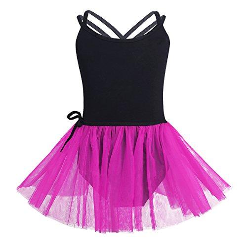 TiaoBug 2Pcs Enfant Fille Justaucorps de Ballet Gym Ensemble Robe de Danse Classique Body Combinaison sans Manches avec Tutu Tulle Jupe 3-14 Ans Noir & Rose vif 12-14 Ans