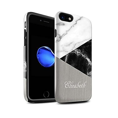 Personnalisé Marbre/Bois Coutume Brillant Coque Robuste pour Apple iPhone 7 / Géométrique Sombre Design / Initiales/Nom/Texte Antichoc Etui/Housse/Case