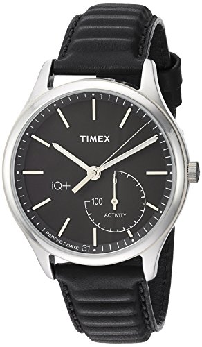 Timex Men's TW2P93200 IQ+ Move Activity Tracker Black Leather Strap Smart Watch image