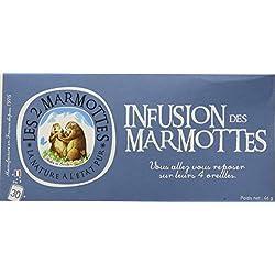 Les 2 Marmottes Infusion des Marmottes - Verveine Menthe Camomille - Bien-Être et Relaxation - Pour le soir - 30 Sachets par boite - Made in France
