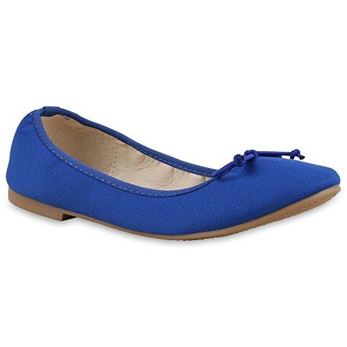 Damen Ballerinas Flats Übergrößen Gr. 36-44 Freizeit Leder-Optik Schleifen Pailletten Slipper Schuhe 132797 Blau Blau Nude 37 Flandell -