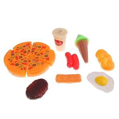 Sharplace 8PCS Alimentaires Réaliste Multicolore En Plastique Pizza Jambon Oeuf Crème glacée Boisson Jouet d'imitation Cadeau Idéal pour Enfant