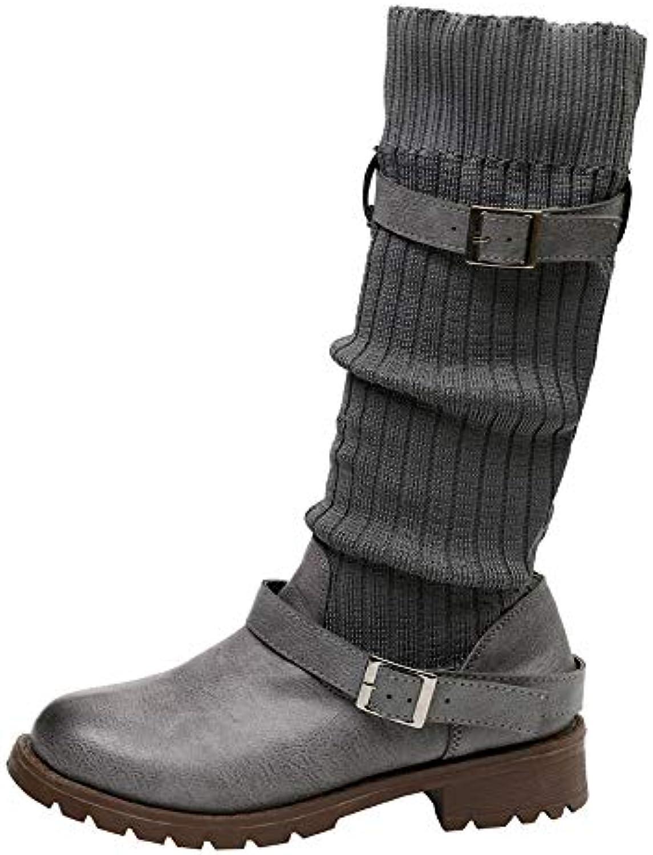 RBNB Chaudes Chaussures Bout Rond Femme de fourrées Hiver Classiques Rétro Martin Cuir Bottes Hautes de Femme Neige Bottes...B07KBDLPK6Parent a4704d