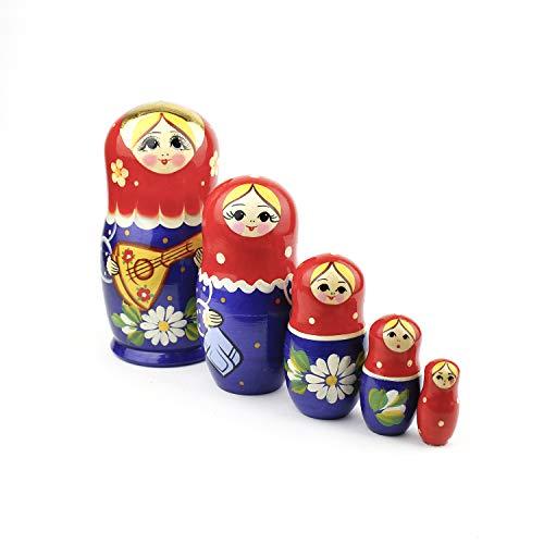 Heka Naturals Matryoshka Russische Puppen Klassische Babuschka Hand Made in Russland 5 Stück 18 cm Holz Geschenk Spielzeug -Balalaika (Design kann variieren)
