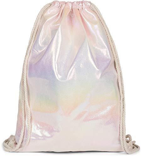 styleBREAKER Borsa da palestra con superficie con effetto arcobaleno iridescente, zaino, borsa sportiva, borsa, unisex 02012298, colore:Rosé