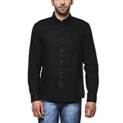 Indian Terrain Mens Solid Regular Fit Linen Casual Shirt (ITMSH00052_Black_S)