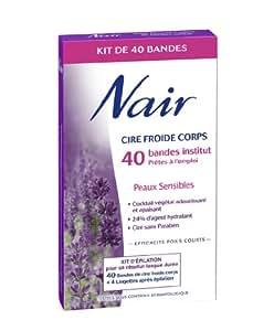 nair 501918 epilation bandes de cire froide corps peaux sensibles 40 bandes 4. Black Bedroom Furniture Sets. Home Design Ideas