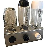 3er Abtropfhalter aus Edelstahl für z.B. Sodastream Crystal/Source / Easy/Cool Flaschen Flaschenhalter