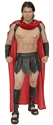 MyPartyShirt Spartanische Krieger-Rotes Erwachsenes Cape 300 Kostüm-Römisches griechisches Thor Gladiator Cosplay