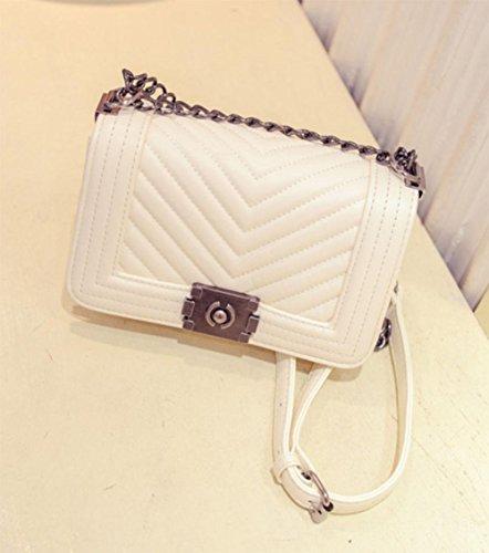 MEILI Handtaschen Handtaschen V-Brief kleine duftende Kette Tasche Schulter Umhängetasche trumpet rice white