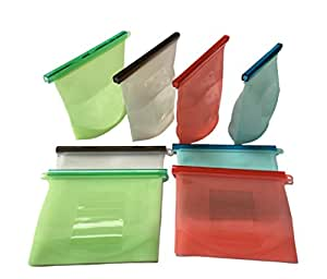 2 x silicone tanche sacs de conservation sac repas r utilisable wiederverschlie bare vide. Black Bedroom Furniture Sets. Home Design Ideas