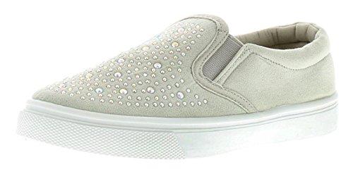 Microsuede Schuhe (Ältere Mädchen Weich Microsuede Mode Skater Schuhe Merkmale dimantes zu dem Vamp, hineinschlüpf Stil für Einfache An/über - Grau - UK Größen 1-13 - Grau, 38)