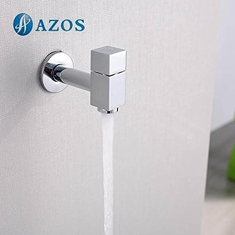 AZOS Utility Mop bibcock singolo freddo per montaggio a parete, cromato rubinetto da giardino per lavabo rubinetto