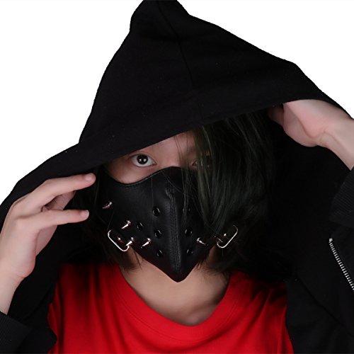 dPois Unisex Halb Gesichtsmaske Steam Punk für Motorrad Radfahren Verkleiden Cosplay Sport Schutz Maske Sturmmaske Skimaske Gesicht Maske Spike Spitze Nieten Schwarz One_Size (Kostüm Masken Spike)