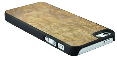 SunSmart Premium Quality Holz Ledertasche Cover für das Apple iPhone 5 5S 5C olivenwurzelholz