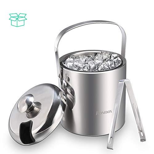 Pujuas Eiswürfelbehälter Eiseimer Eisbehälter Eiskühler mit Zange und Deckel Edelstahl Doppelwand Isoliert Eiskübel Weinkühler Eiskühler für Besonders Lange Kühlung - 1.2 L, Silber