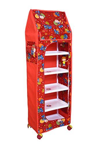 Flipzon Multipurpose 6 Shelve Baby Wardrobe, Foldable, (Unbreakable Material) (Red)