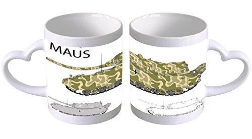 LEotiE SINCE 2004 Kaffeetasse mit Herzgriff Kaffeebecher Becher Tasse Mit Fotodruck Fototasse Militär Panzer Maus Herz Griff