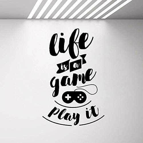 muzi928 Gaming Quote Vinyl Wall Decal Life is a Game Play it Teen Room Video Game Stickers Mural Inspire Words Art Sticker27X42 cm -