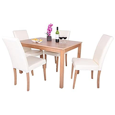 OAKDEN 5 PCS OAK DINING TABLE AND 4 x FAUX LEATHER HIGH BACK CHAIR SET WOOD (Cream)