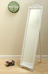 Milano Cheval style shabby chic Grand miroir sur pied au sol Blanc Long 180,3x 43,2cm