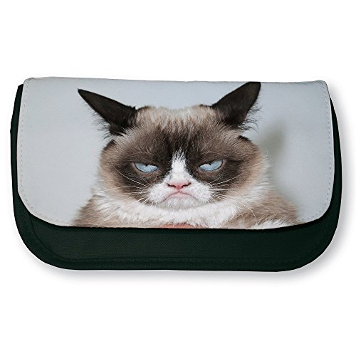 Trousse noire de maquillage ou d'école Grumpy cat ( Chat grincheux ) - Fabriqué en France - Chamalow shop