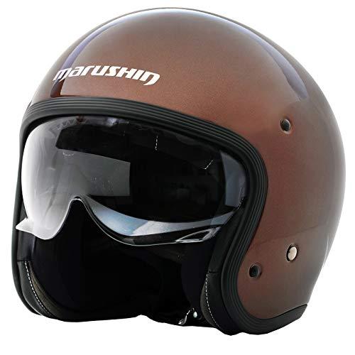 Marushin C-149 Motorrad Helm Jethelm Premium Line Halbschalenhelm, M, Glitterbraun -