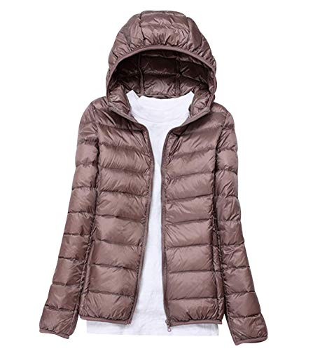 Women/'s Ultra Lightweight Hooded Packable Down Jacket Quilted Padded Puffer Coat