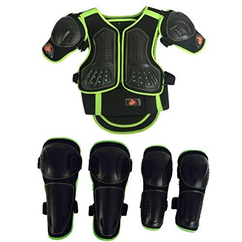 Tutina da Moto per Bambini, Protezione per Petto, Schiena, Spalle, Braccia, Gomito, Ginocchia, Motocross, Corsa, Sci, Pattinaggio, 3 Colori, Green, M