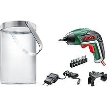 Bosch 06039A800H - Pack con atornillador, lámpara solare y 10 puntas de atornillar, 215 rpm, 3.6 V, color negro y verde