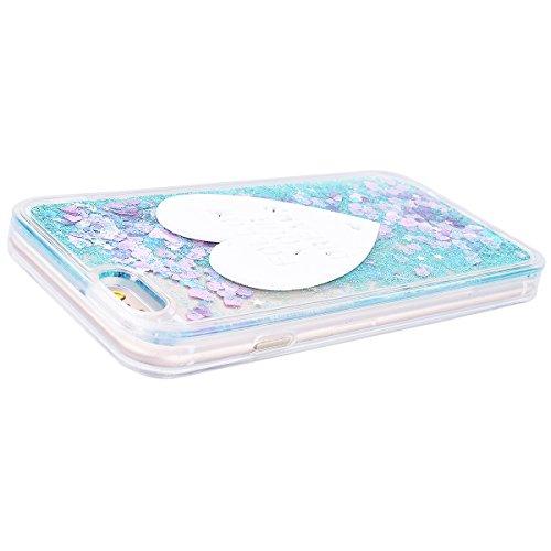 WE LOVE CASE iPhone 6 / 6S Coque, Étui Transparente de Protection en Premium Hard Plastique Dur Housse Liquide et Clair, Bumper Bling Cas Briller Couverture avec Paillette Ecoulement Flottant Motif Br bleu