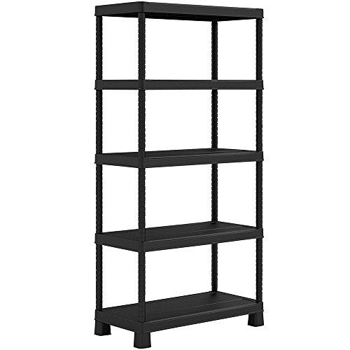 KIS Plus Tribac Bücherregal in schwarz, schwarz, mit 5 verstellbare Einlegeböden (5-regal Bücherregal Verstellbar)