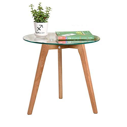 Axdwfd Petite table d'appoint, table basse ronde, pieds en chêne massif + plateau en verre trempé, idéale pour balcon salon chambre 50 * 40.5 * 45cm
