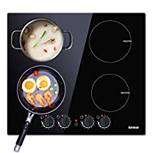 Induction Hobs - 60CM Electric Cooktops 4 Burners Cooker with Black Crystal Unpolished Plate Electric Hob Karinear