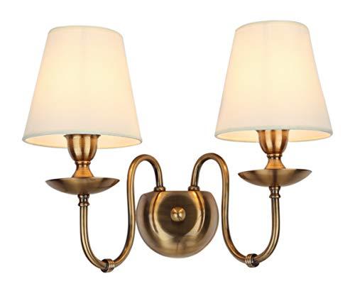 Retro nostalgisch Wandlampe Wandleuchte klassische Wandbeleuchtung Industriellelampe Gelb Leinen-lampenschirm 2-flammig E14 2x60W 230V -