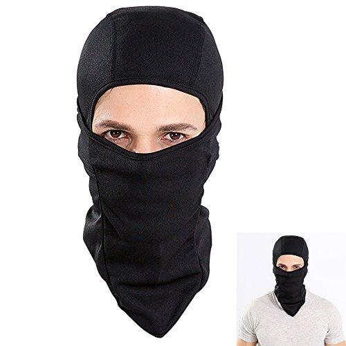 Cagoule Moto, Balaclava Face Cou Masque Moto, Cagoule Vélo Anti Froid Coupe-Vent Respirant Eté Poussière légère Homme Femme Unisex (Noir)